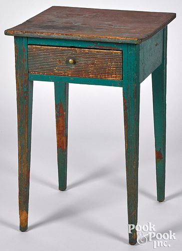 Painted pine one-drawer stand, early 19th c.