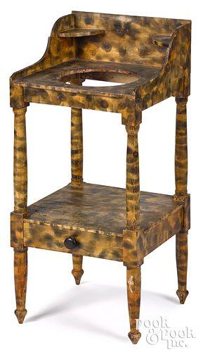 Sheraton painted pine washstand, 19th c.