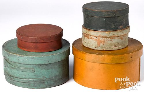 Five painted bentwood pantry boxes, 19th c., large