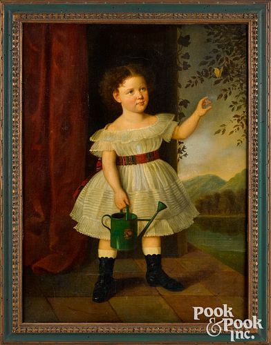 American oil on canvas portrait of a girl