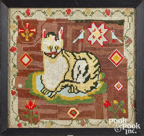 """Needlework cat, 19th c., 11 1/2"""" x 12""""."""
