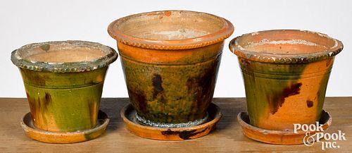 Three Pennsylvania redware flowerpots, 19th c.