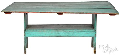 Painted pine bench, table 19th c.