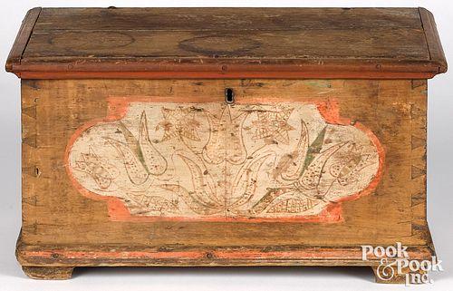 Pennsylvania painted poplar miniature dower chest
