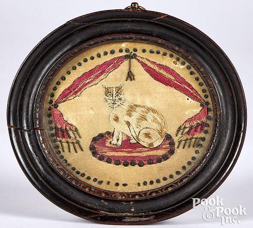 "Miniature silkwork of a cat, 19th c., 3 3/4"" x 4""."