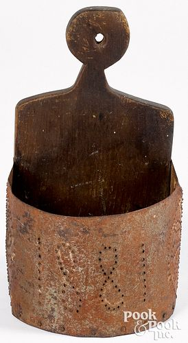 Pine and tin hanging wall box, dated 1881