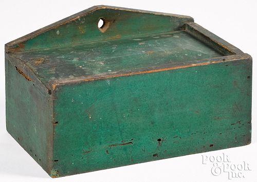 Unusual painted pine hanging slide lid box, 19th c