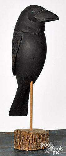 Carved and painted crow decoy, mid 20th c.