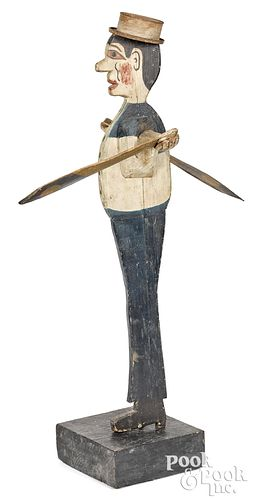 Painted sailor whirligig, early 20th c., with tin