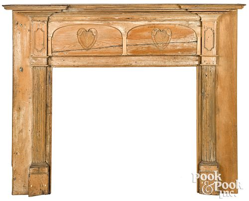 Federal carved pine mantel, early 19th c.