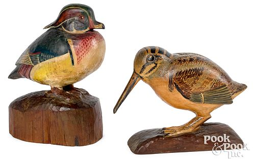 Carved and painted duck and woodcock