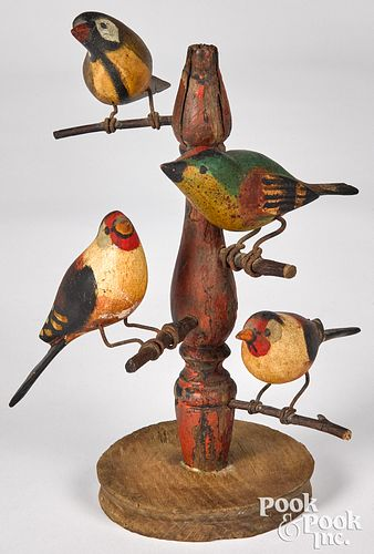 Carved and painted bird tree, ca. 1900