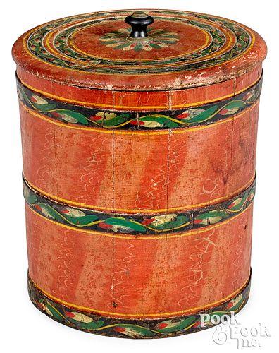 Joseph Lehn painted bucket with lid