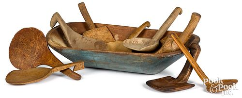 Painted wood trencher, 19th c., together with nine