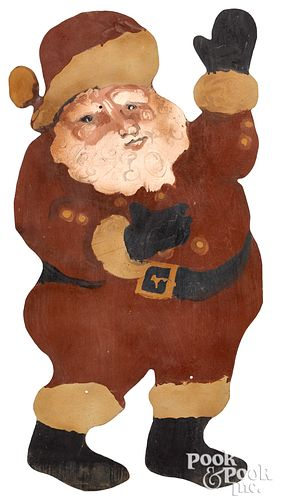 Large painted sheet iron Santa Claus, mid 20th c.