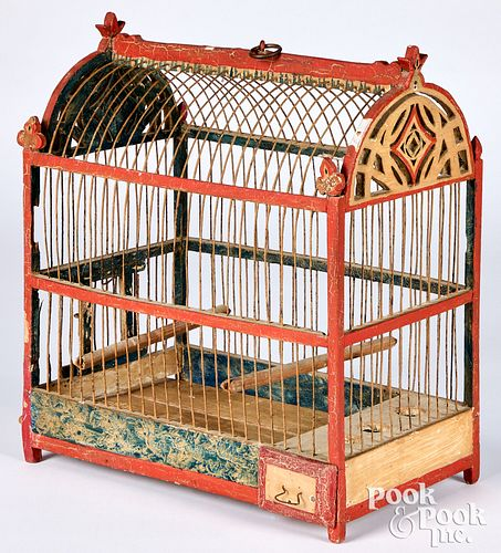 """Victorian painted birdcage, 15 1/2"""" h., 13 1/2"""" w."""