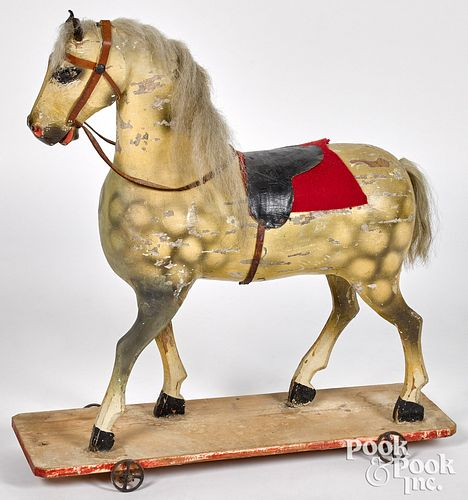 Carved and painted horse pull toy, late 19th c.