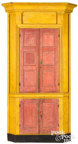 Pennsylvania painted pine corner cupboard