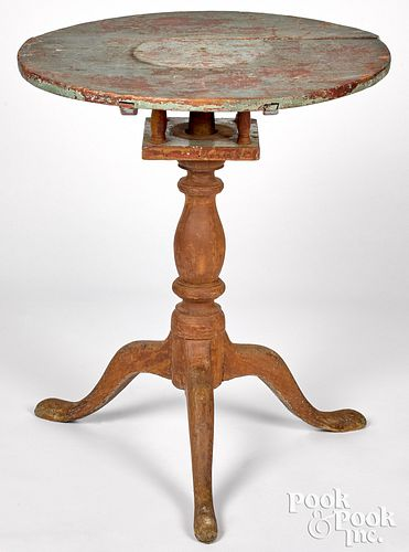 Primitive Pennsylvania painted candlestand, late 1