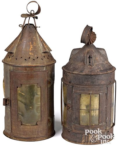 """Two tin lanterns, 19th c., with mica shades, 18"""" h"""