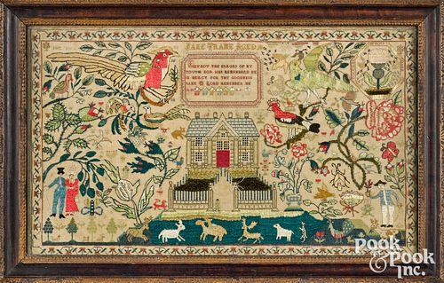 Elaborate English or Irish silk on linen sampler