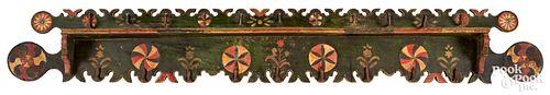 Elaborate Continental painted pine pot rack