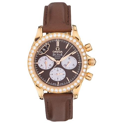 OMEGA DE VILLE CO-AXIAL LADY CHRONOGRAPH WATCH WITH DIAMONDS IN 18K PINK GOLD Movement: automatic