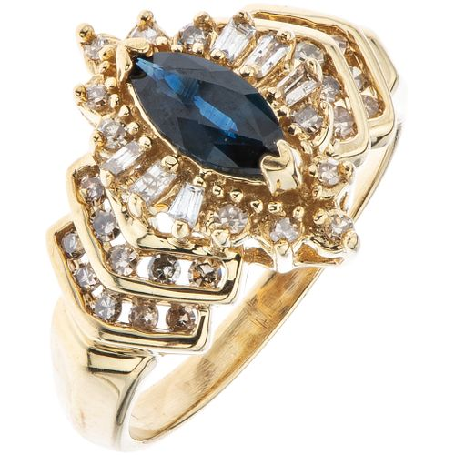 RING WITH SAPPHIRE AND DIAMONDS IN 10K YELLOW GOLD 1 Marquise cut diamond ~0.30 ct, different cut diamonds. Size: 7