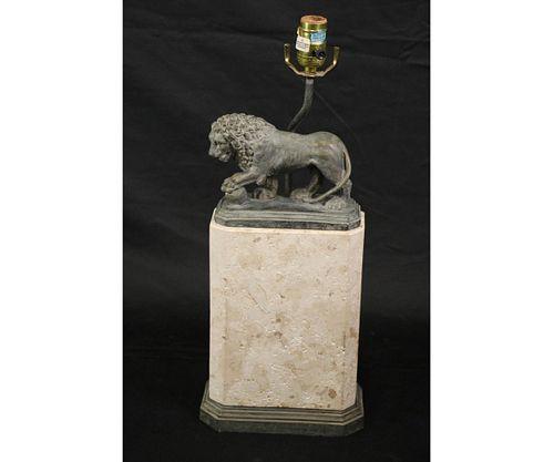 PATINAED LION ON LIMESTONE BASE LAMP