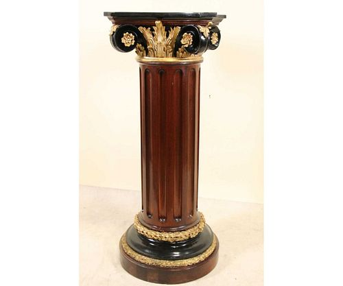 IONIC FLUTED MARBLE TOP COLUMN PEDESTAL