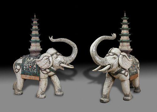 Pair of imperial elephants. Beijing, China, 19th century. Ivory, ebony and semi-precious stones. Unique pieces.