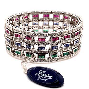 LUISE 18k Rubies, Sapphire, Emerald & Diamond Bracelet