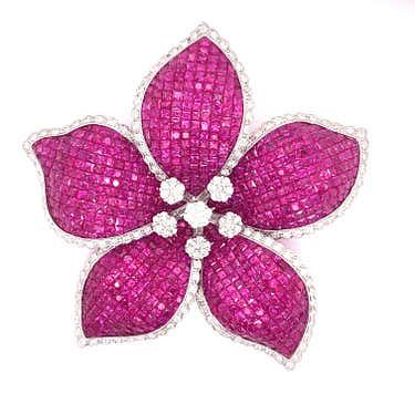18K Ruby Diamond Flower Brooch