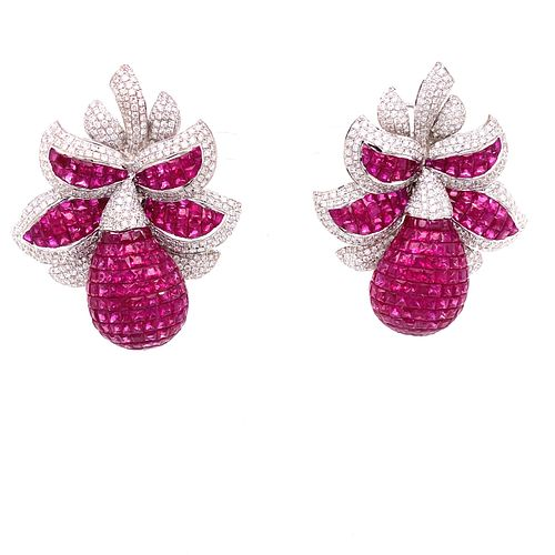 18k Diamond Ruby Invisible Setting Earrings
