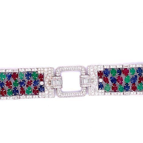 TuTTi FruTTi 18k Sapphire Emerald Ruby Diamond Bracelet