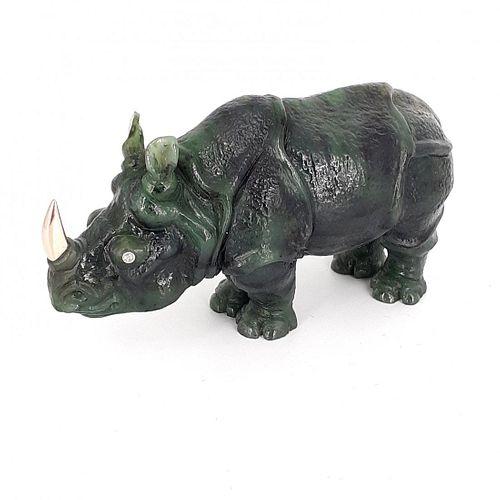 Russian Carved Nephrite Jade Rhino