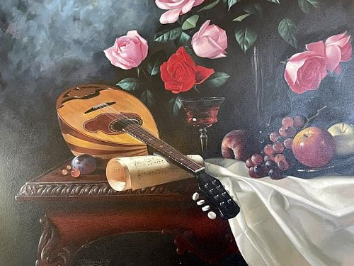 Signed Sidorenko - Roses & Music Still Life