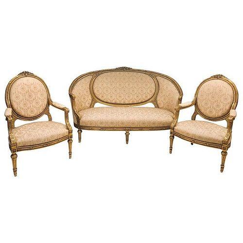 Louis XVI Style Cameo Back Sofa Settee & Armchairs