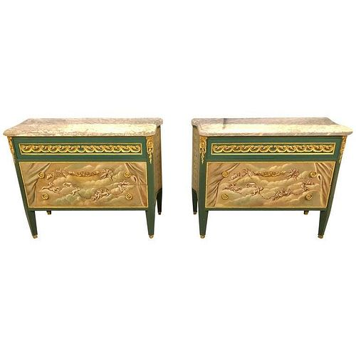 Paint Decorated Hollywood Regency Marble Commodes
