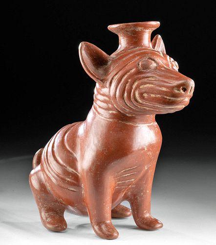 Superb Colima Redware Dog Vessel Wrinkled Body