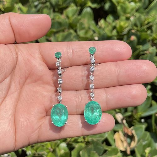 Emerald, Diamond and 14K Earrings