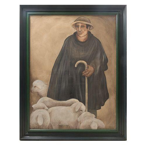 HELEN BICKHAM. Pastor, pueblo Felipe Neri. Enmarcada. 132 x 99 cm  Detalles de conservación.