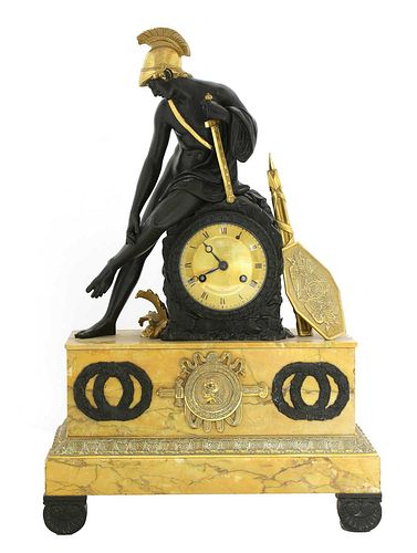 A French Empire patinated and gilt-bronze and Sienna marble mantel clock,