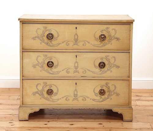A painted chest of drawers,