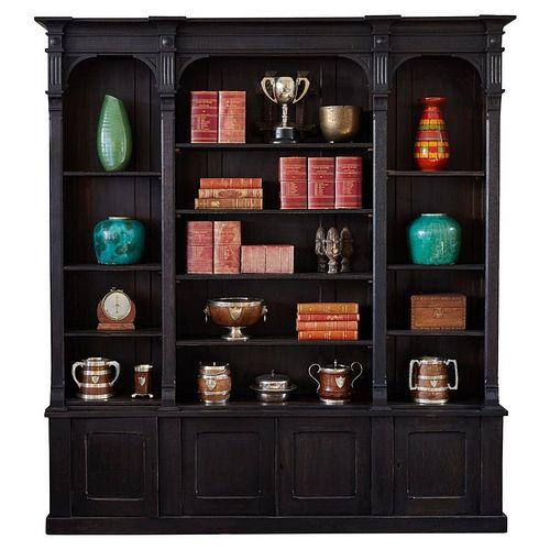 1880s Ebonized English Open Face Oak Bookcase