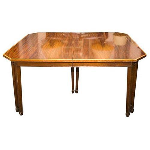 English Sheraton Style Mahogany Dining Table
