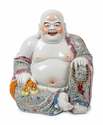 A Large Chinese Famille Rose Porcelain Figure of Laughing Buddha