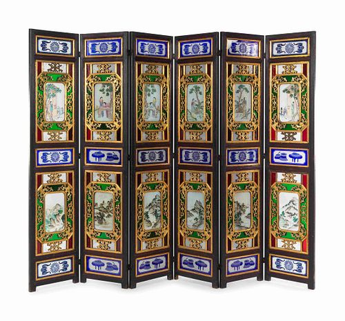 A Chinese Painted Glass Inset Gilt Decorated Hardwood Six-Panel Floor Screen