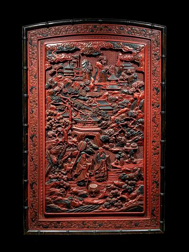 A Large Chinese Cinnabar Lacquer 'Figure' Panel