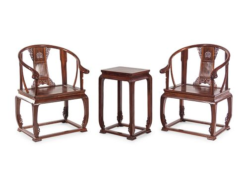 A Pair of Chinese Huanghuali Chair and Side Stand
